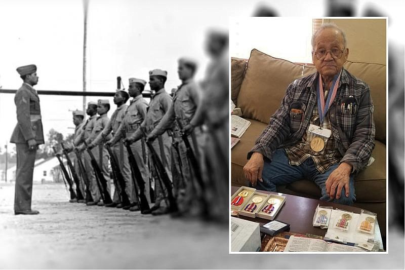 An undated photo collage shows 95-year-old World War II veteran Luther Hendri...