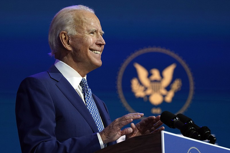 President-elect Joe Biden speaks Monday, Nov. 9, 2020, at The Queen theater i...