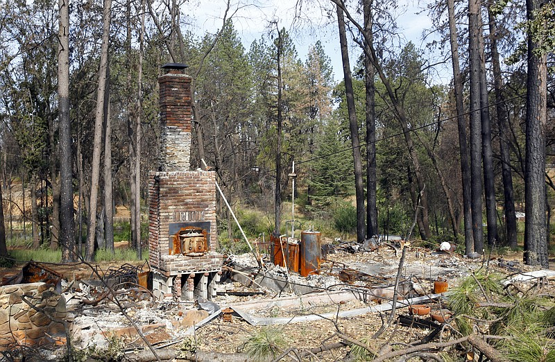 In this Aug. 21, 2019, file photo, burned trees surround the burned-out remai...