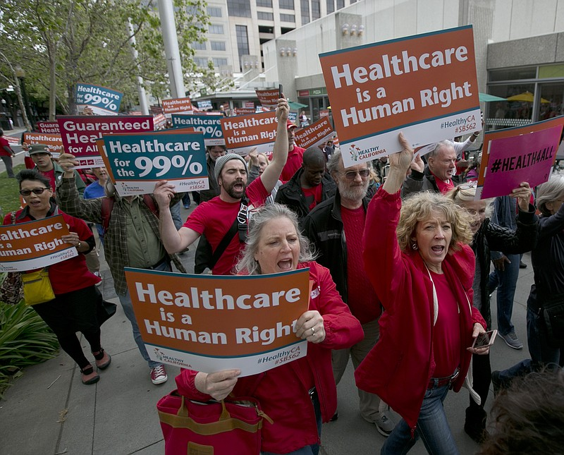 In this April 26, 2017, file photo, supporters of single-payer health care ma...