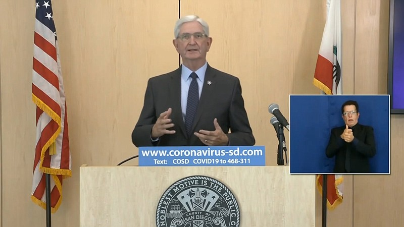 San Diego County Sheriff's Bill Gore announcing the step up in coronavirus pa...