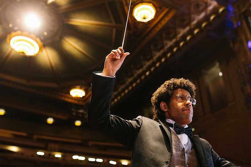Rafael Payare conducts the San Diego Symphony at Copley Symphony Hall in an u...