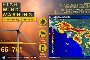 Photo for Santa Ana Winds Raise Risk Of Wildfires Friday In SD County Mountains, Valleys