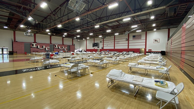 A temporary emergency facility at Imperial Valley College is shown in this un...