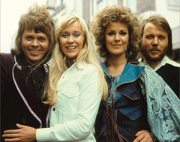 Left to right: ABBA members Björn Ulvaeus, Agnetha Fältsk...