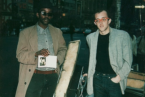 Keith Haring (right) and Fab 5 Freddy (undated photo).