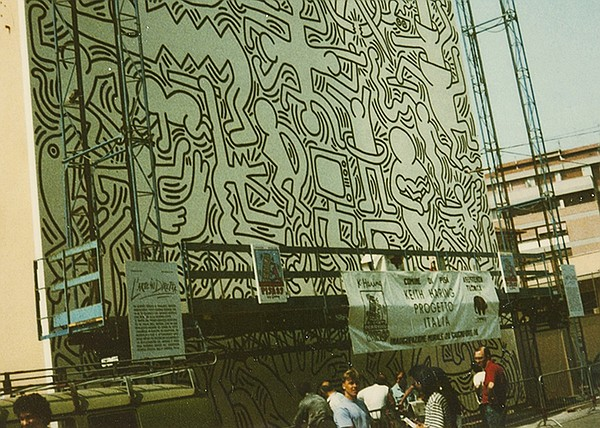 Keith Haring, Pisa mural, June 1989.