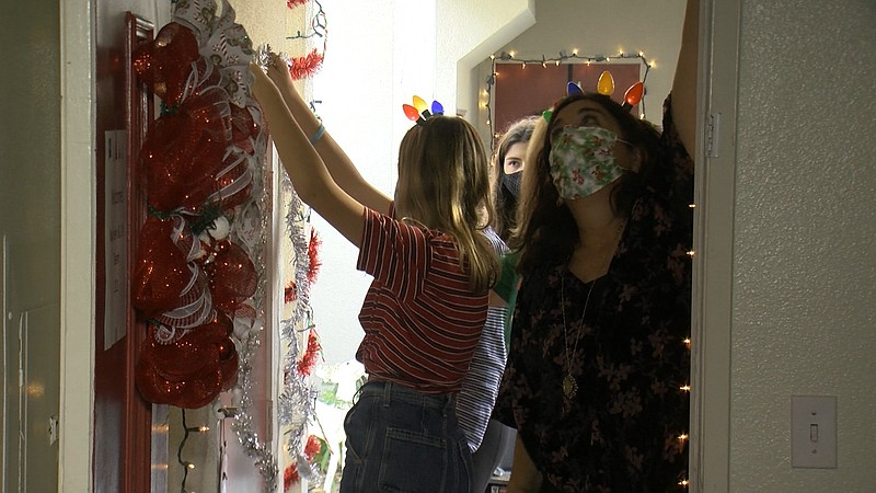Volunteers decorating for the annual