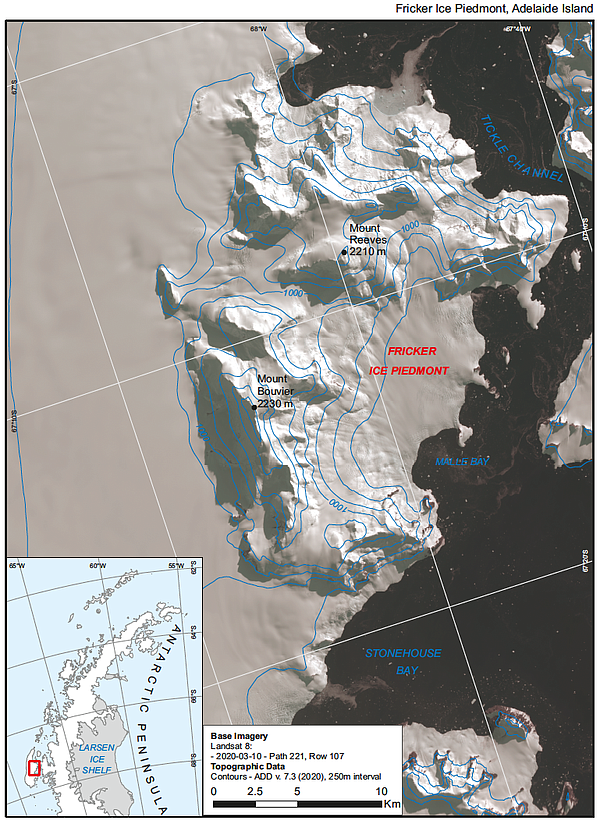 Location of the newly named Fricker Ice Piedmont in Antar...