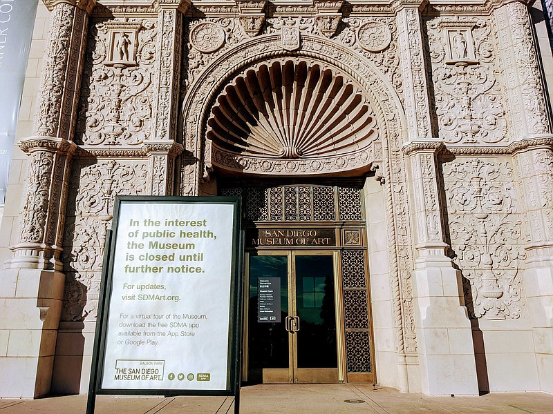A sign in front of the San Diego Museum of Art in Balboa Park announcing the ...