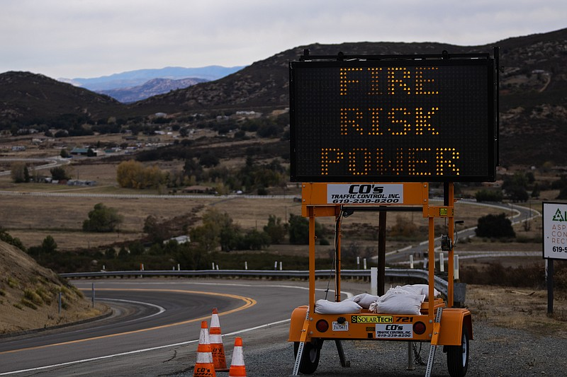 A sign advising of potential fire risk placed on Willows Road near the Viejas...