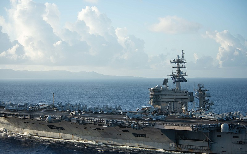 The USS Theodore Roosevelt approaching Apra Harbor, Guam June 3, 2020.