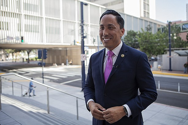 Todd Gloria is shown on the steps of San Diego's courthouse on Union Street.