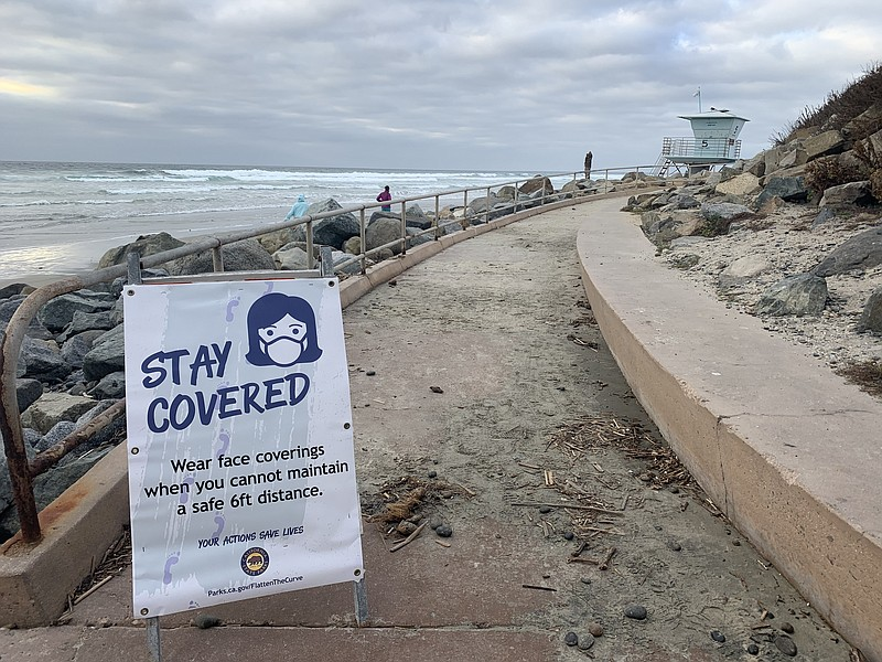 A sign advising of COVID-19 prevention at Torrey Pines State Beach. Dec. 10, ...