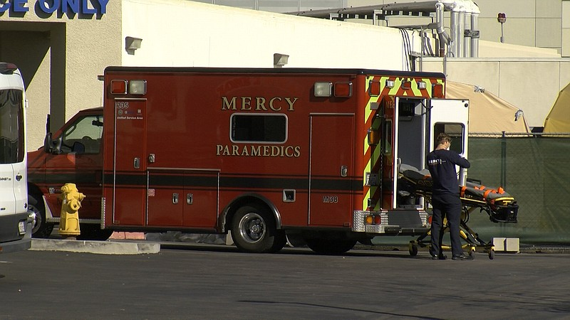 A patient is taken out of an ambulance at Sharp Chula Vista Medical Center, D...