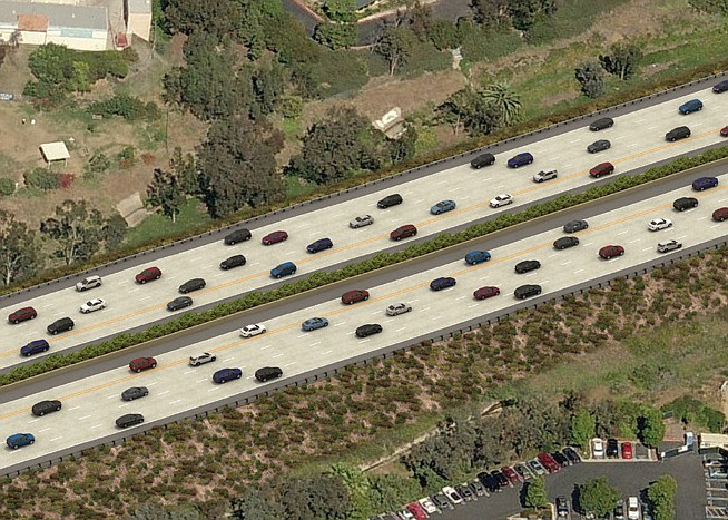 An undated artist rendering of the carpool lanes on Internet 5 from Lomas San...