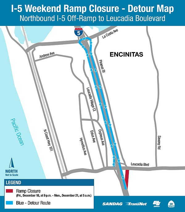 A map of the tramp closure of the northbound I-5 off-ramp...