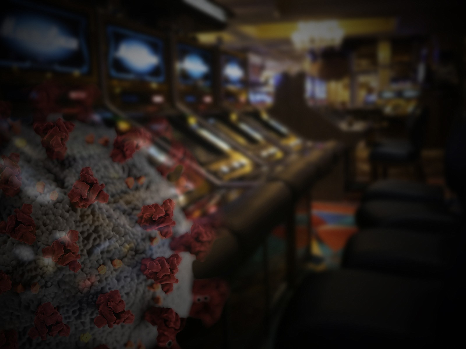 A row of casino slot machines are pictured in this undated graphic.