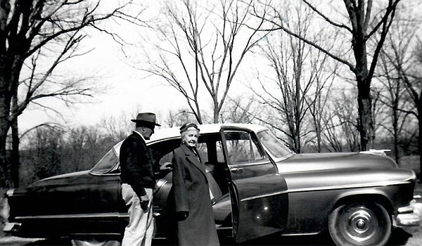 Jim Hartley and Laura Ingalls Wilder with car, 1954.