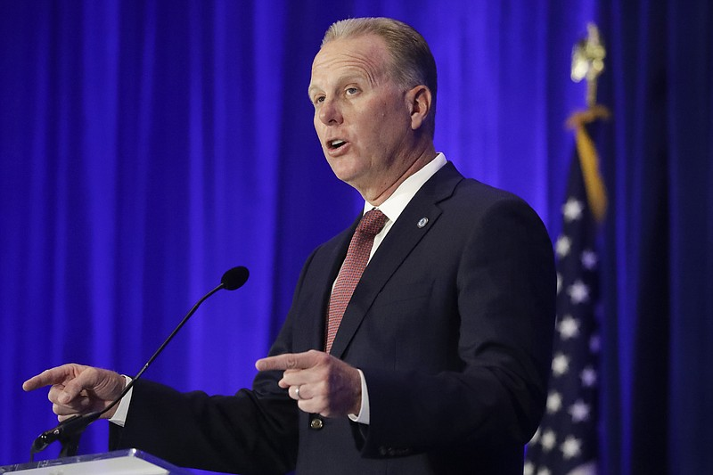 In this Sept. 7, 2019, file photo, Kevin Faulconer speaks during the Californ...