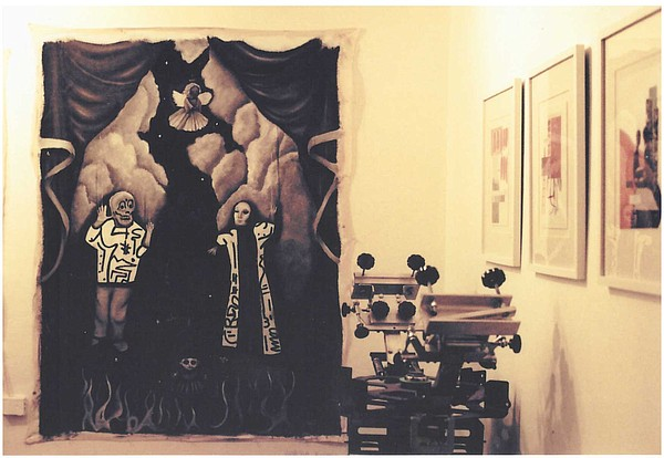 A canvas by Vanessa Rishel hangs on the wall at Teros Gal...