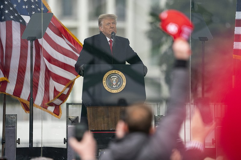 President Donald Trump speaks during a rally protesting the electoral college...