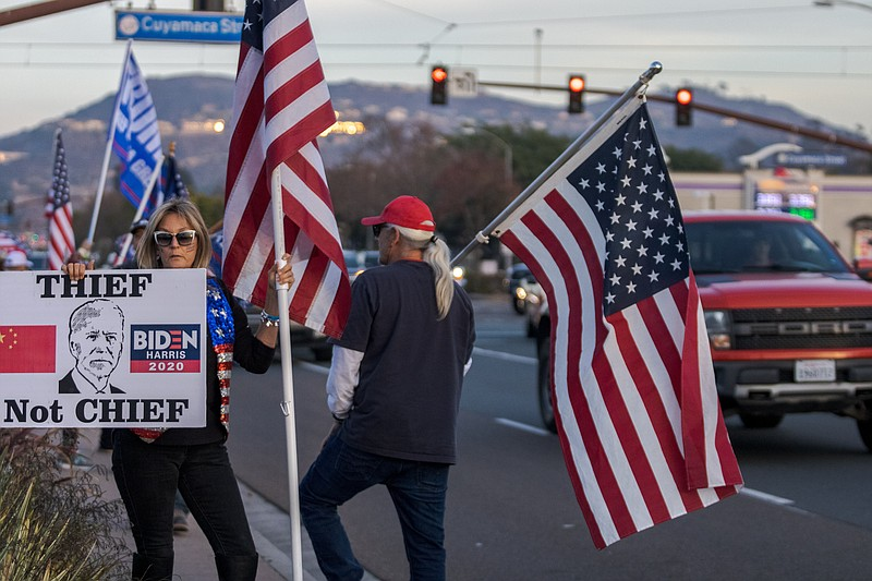 Supporters of President Trump in Santee, CA on January 6th, 2020.
