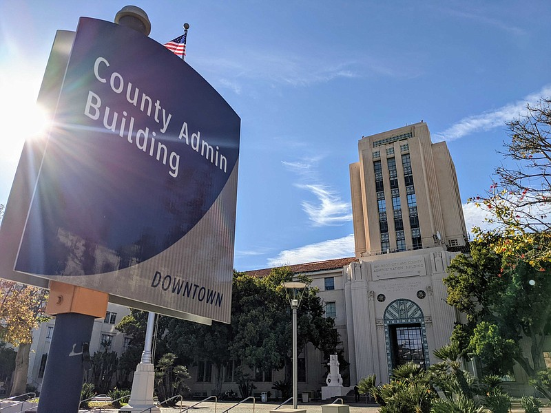 The San Diego County Administration Building in this file photo taken on Dec....