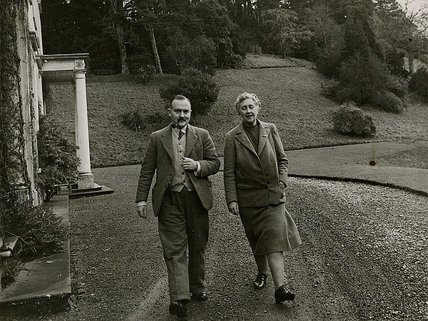 Agatha Christie (right) walks the grounds of Greenway, he...