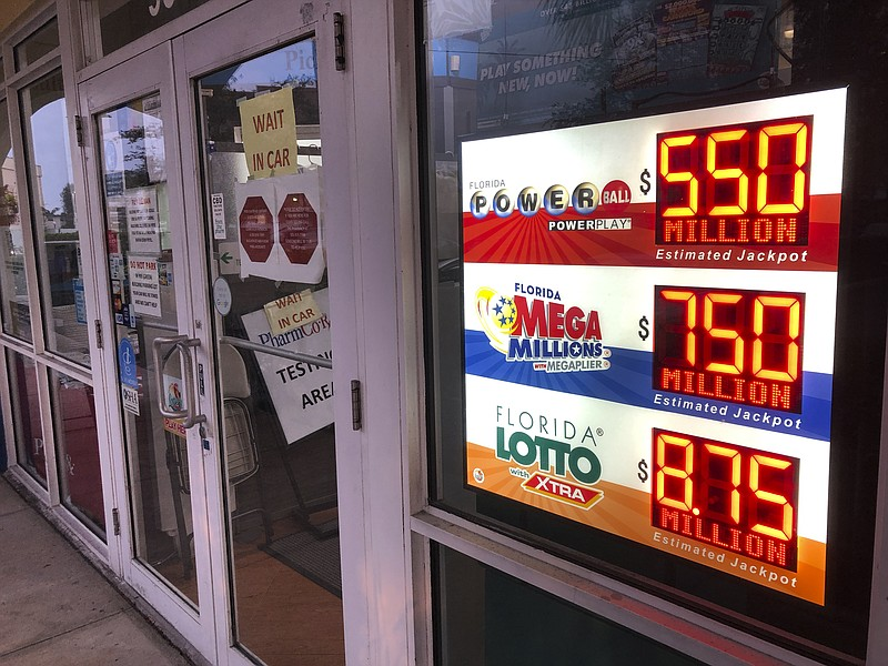 Powerball and Mega Millions lottery and Florida Lotto jackpots are displayed ...