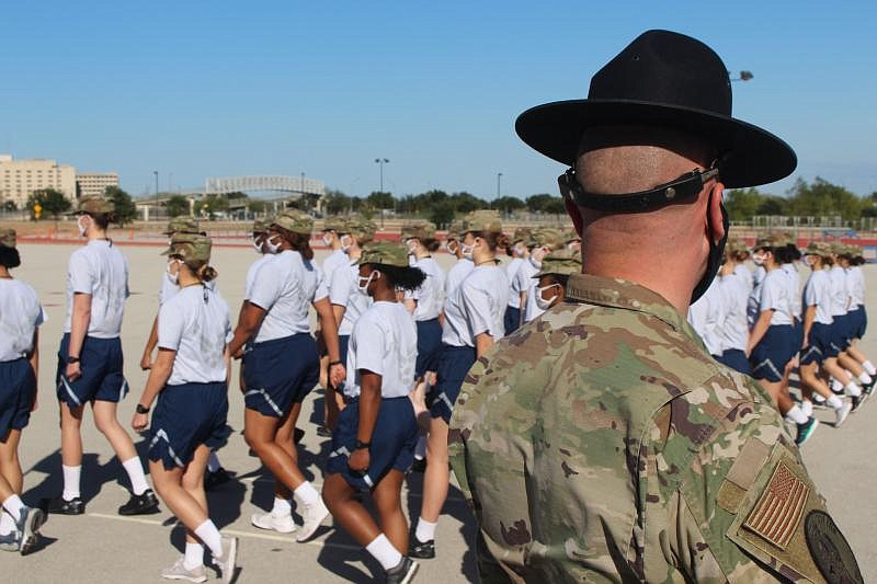 Trainees march in formation at Joint Base San Antonio-Lackland in this undate...