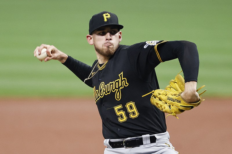 In this Sept. 26, 2020, file photo, Pittsburgh Pirates starting pitcher Joe M...