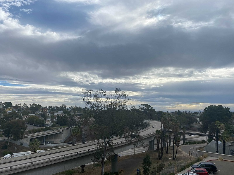 Clouds loom above the Golden Hill neighborhood of San Diego, Jan. 20, 2021.