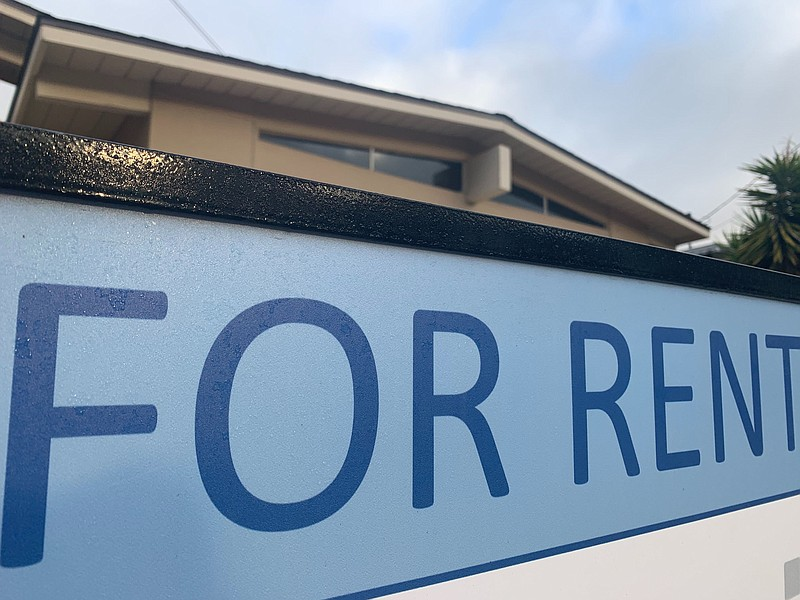 A for rent sign is pictured out front of a house in San Carlos in this undate...