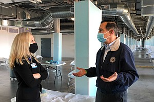East County Rep. Darrell Issa Tours North County COVID-19 Overflow Facility