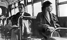 Rosa Parks on a bus, Montgomery, Alabama 1956.