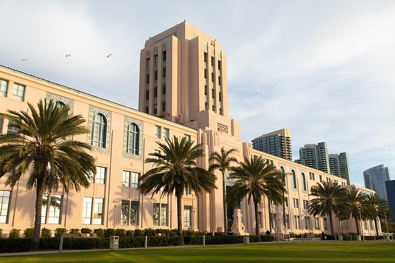 The San Diego County Administration Building is shown on Jan. 12, 2021.