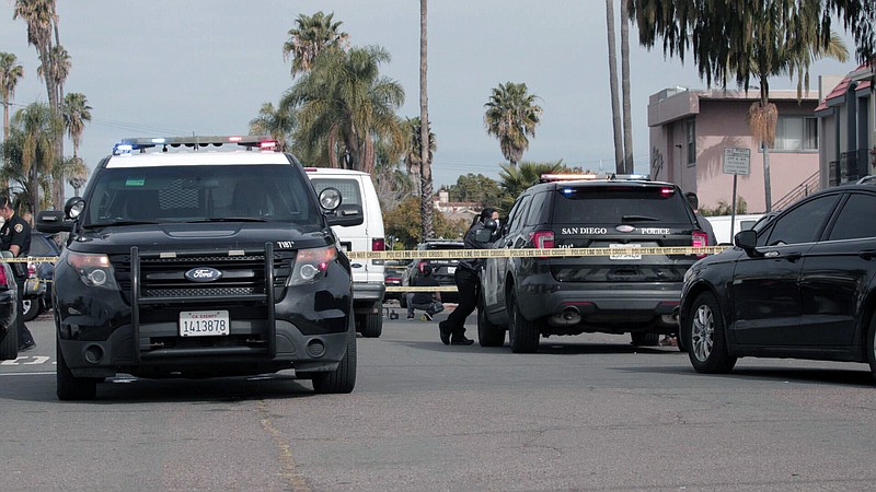Police block Kansas Street in the North Park neighborhood of San Diego after ...