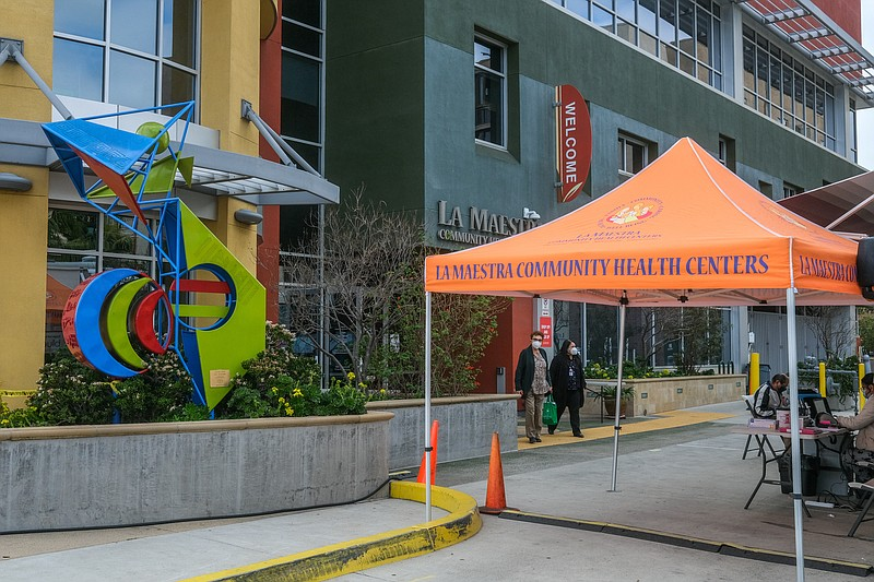 A screening tent outside of La Maestra Community Health Center in City Height...