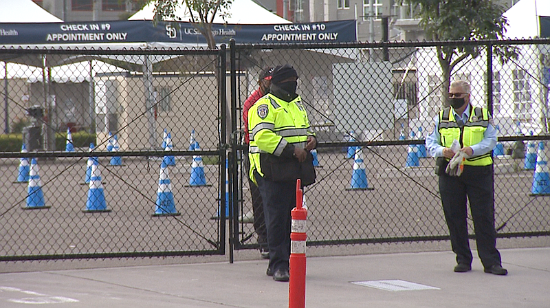 The closed entrance to the Petco Park vaccination site, Feb. 15, 2021.