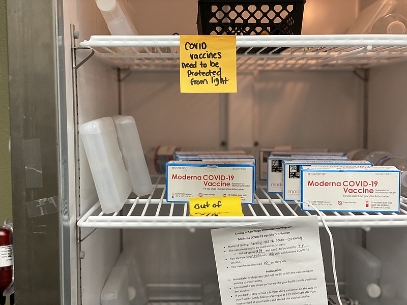 The inside of a refrigerator at Family Health Centers of San Diego.