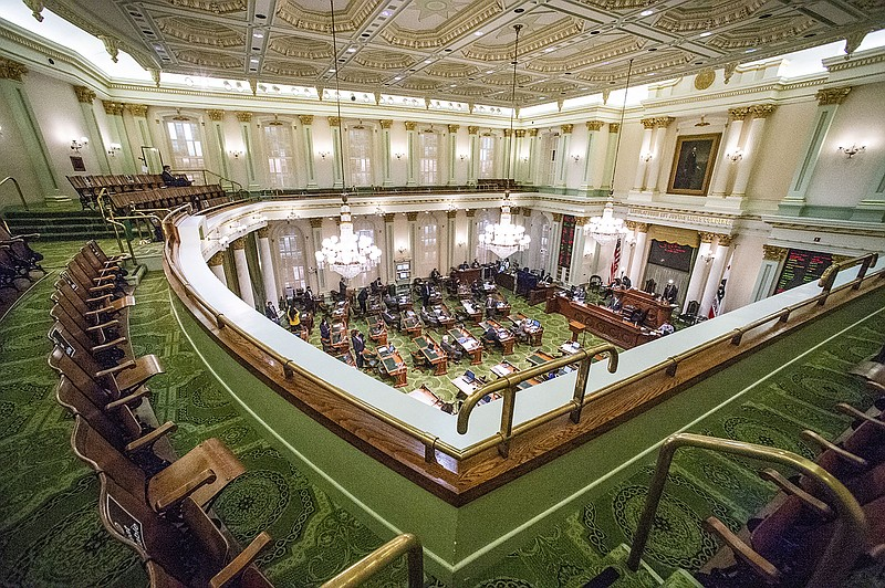 In this Aug. 31, 2020, file photo, is the Assembly gallery overlooking a legi...