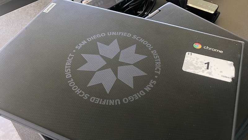 A computer provided by the San Diego Unified School District for a distance l...