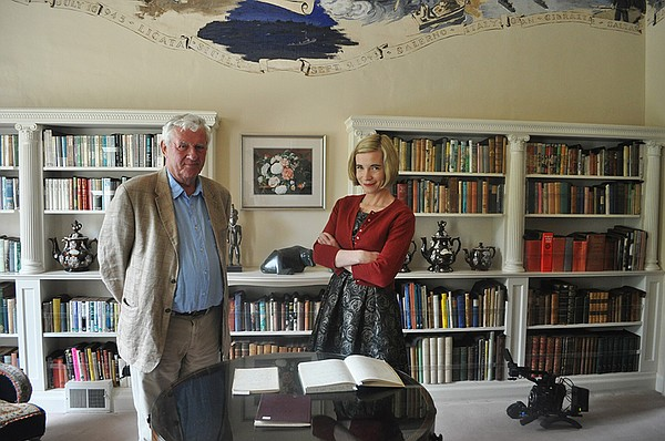 Lucy Worsley (right) with Agatha Christie's grandson at G...