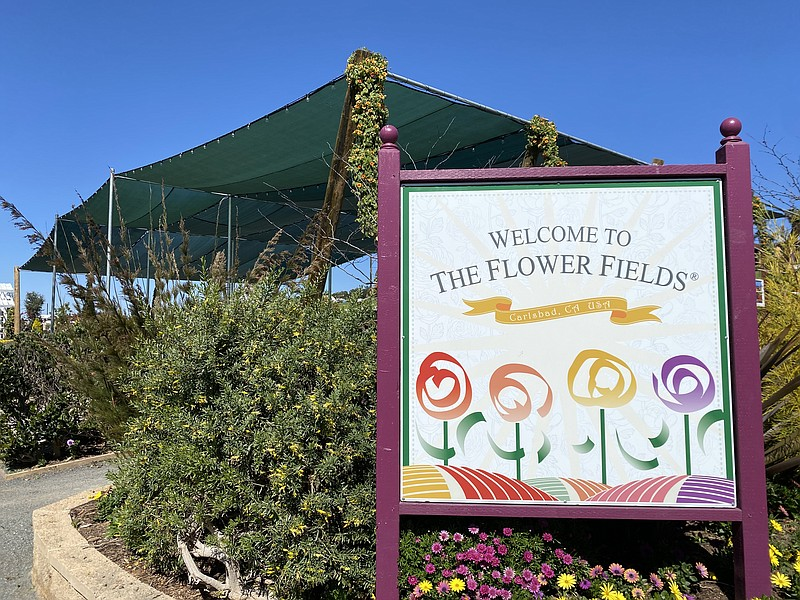 Entrance of the Carlsbad Flower Fields. March 1, 2021.