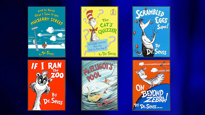 A graphic showing the six Dr. Seuss' books that will stop being published bec...