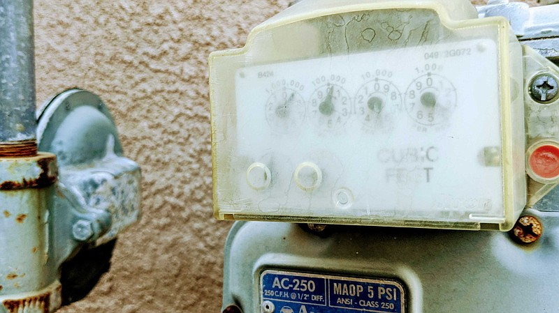 A residential natural gas meter in this undated photo.