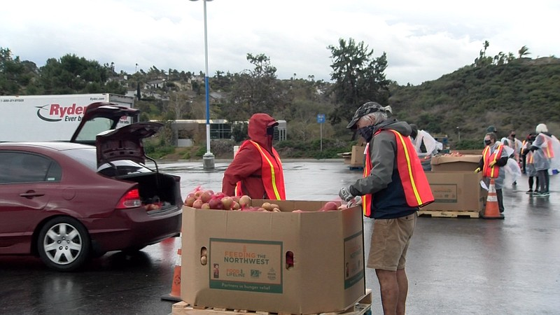 Feeding San Diego volunteers place food into the trunks of cars at a drive th...
