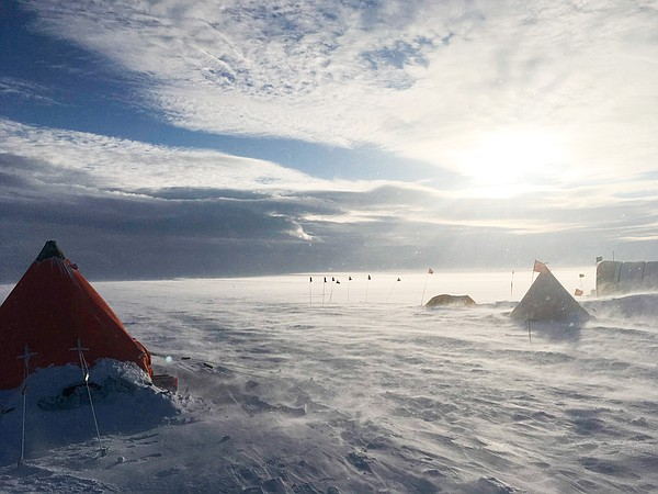A storm on the Thwaites Ice shelf in Antarctica in this u...