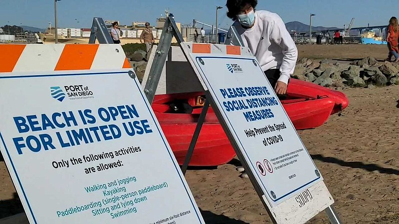 A kayaker getting ready to put away kayaks as the sign at Coronado Ferry Land...